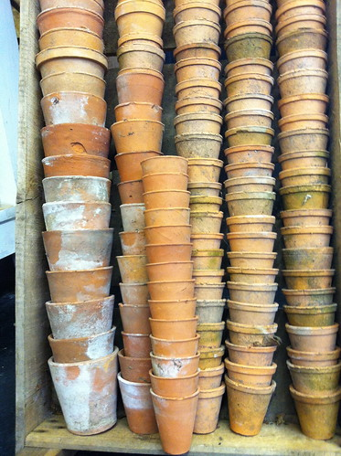 stacks of plant pots
