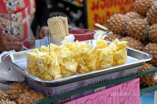 Cut Pineapple, Street Food in Thailand