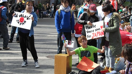 volunteers raising funds for the Japan Red Cross