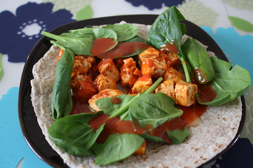 buffalo tofu with spinach, swiss cheese, whole wheat tortilla