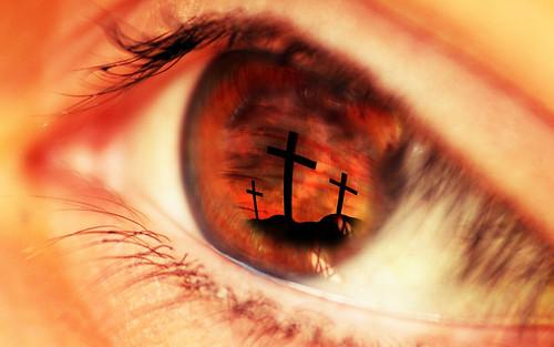 Close up eye red - Jesus - Cross