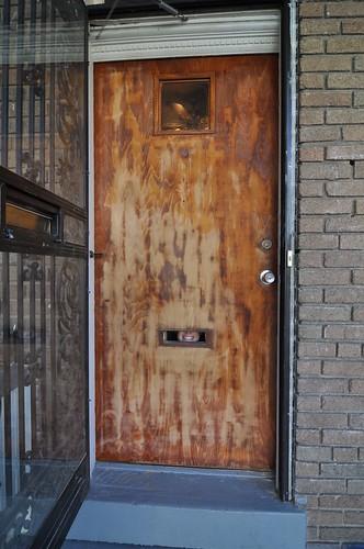 Front door halfway sanded