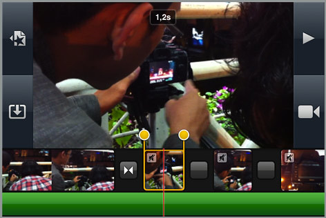 Trimming klip di timeline iMovie for iPhone 4, enak banget!