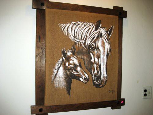 Horses on burlap