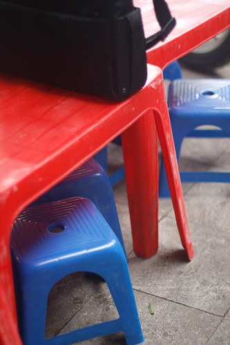 the iconic tiny plastic kid stools at every restaurant