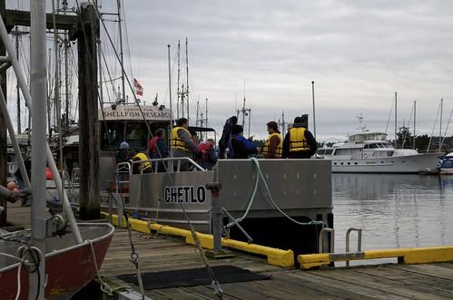 Boarding Deep Bay Marine Field Station research vessel Chetlo in Deep Bay for Island Scallop farm tour.