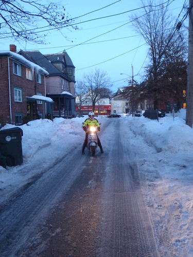 Riding home on an icy, slushy, slippery Providence street