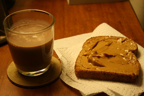 chocolate milk, toast with peanut butter