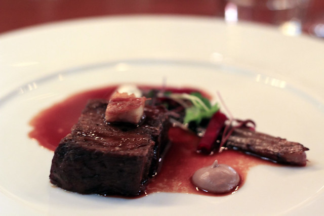 blade of scottish beef, cooked for 72 hours, beetroot & horseradish purée, smoked eel