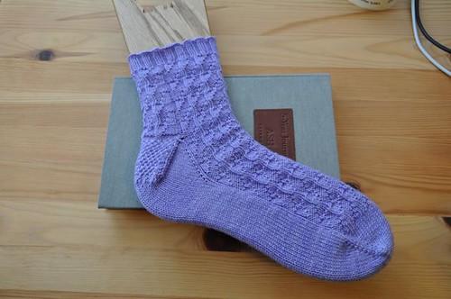 Lilac bladderwrack socks.