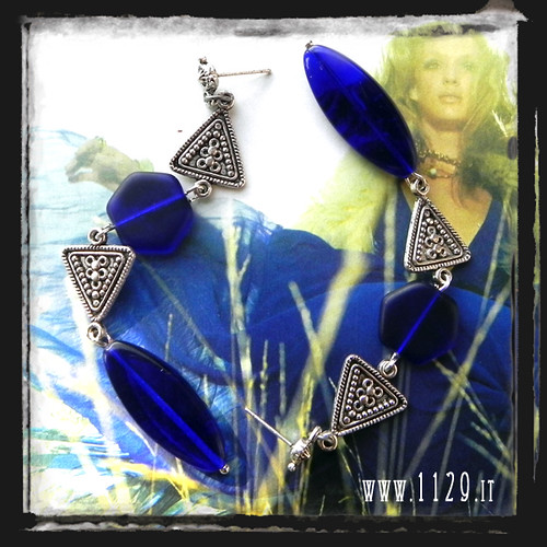 MBTRIA orecchini blu vetro blue glass handmade earrings 1129
