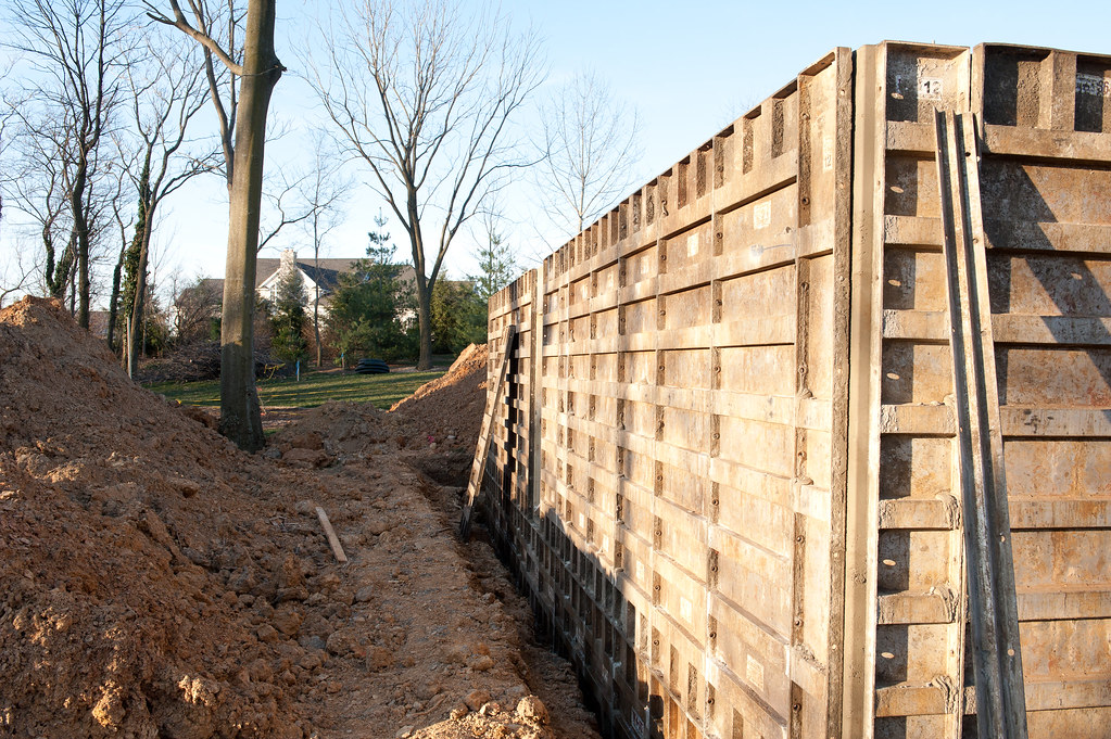 Foundation Wall Forms Being Set