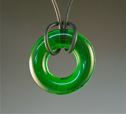 Recycled Glass Pendant --Green--RAW 6/52