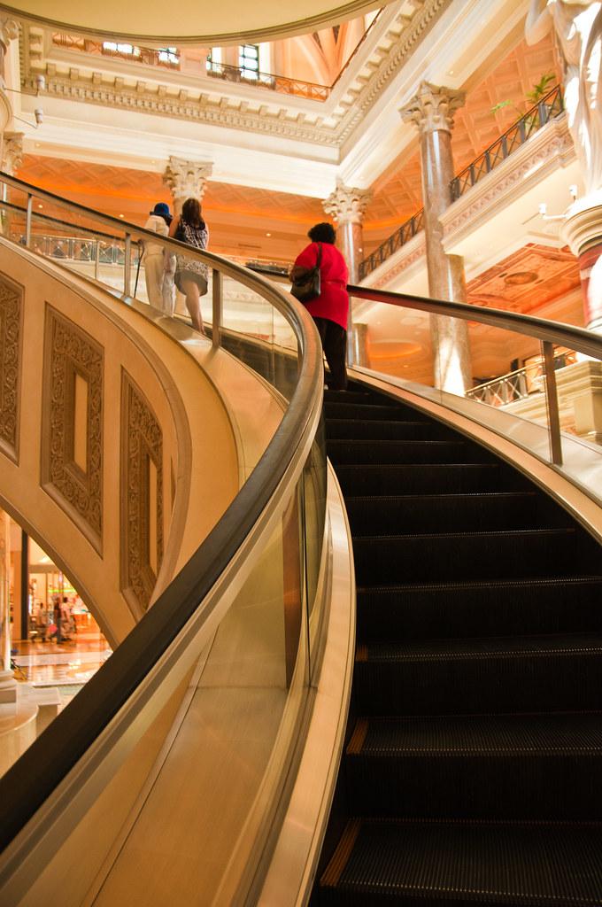 Curving escalator in Caesars Palace