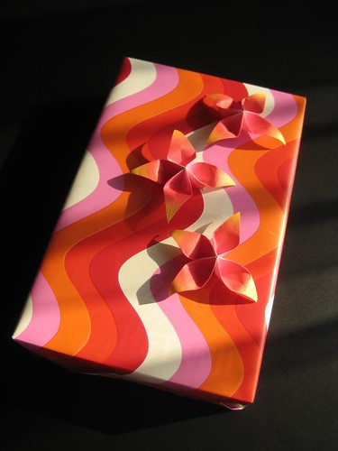 Spring birthday gift with origami flowers