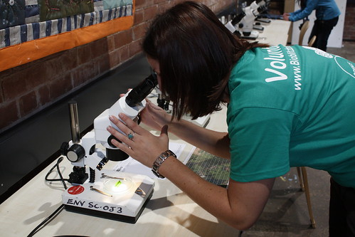 Kate demonstrating a microscope in the study centre