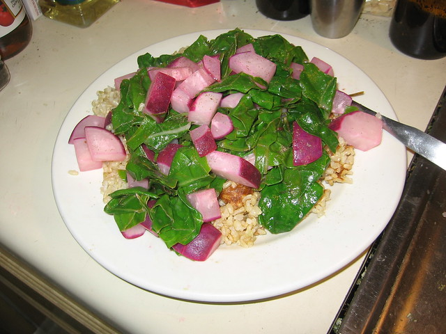 Sauteed radishes and chard with rice