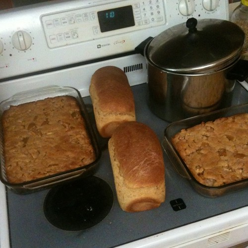 bread, beans, and apple cake