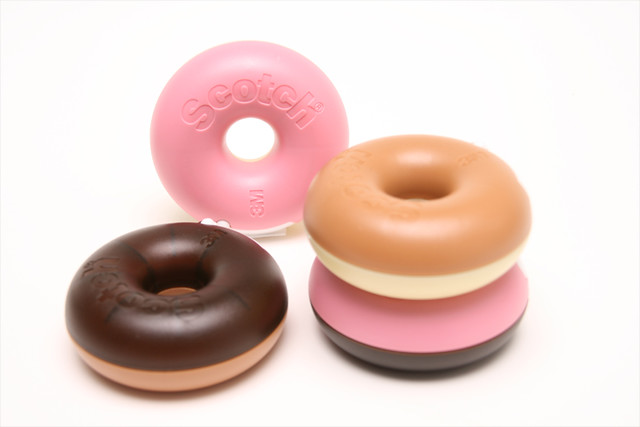 Donut scotch tape dispensers