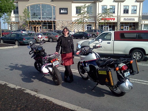Elsa the DR-Z400SM and Kaiju the Honda Transalp at the Cranston REI