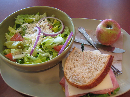 Panera you pick 2 greek salad, ham and swiss sandwich, apple