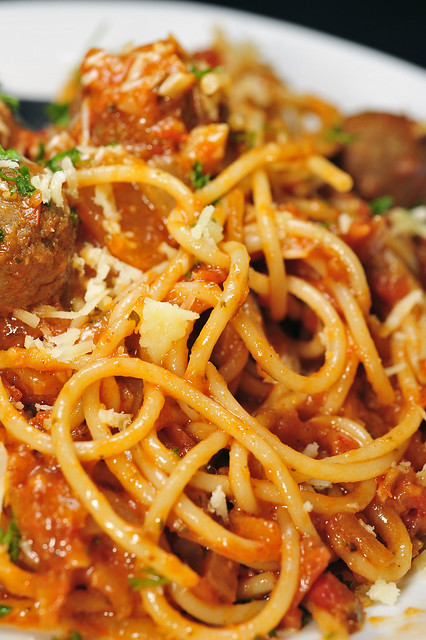 Spaghetti alla Bolognese with meatballs