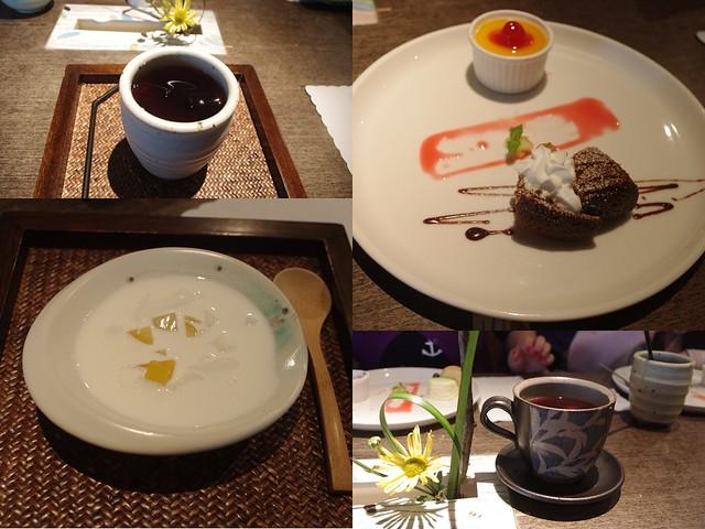 這是我們的附餐,茶飲跟甜點,甜點大受證人喜愛!好看又好吃!