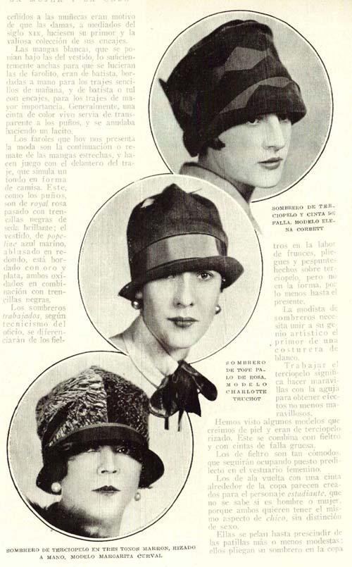 Moda en sombreros de mujer 1926