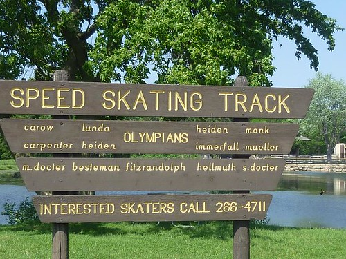 WI, Madison 21 - Olympic Speed Skaters Track Sign