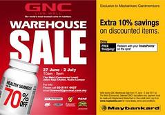 GNC Warehouse Sale 27 Jun - 2 Jul 2011