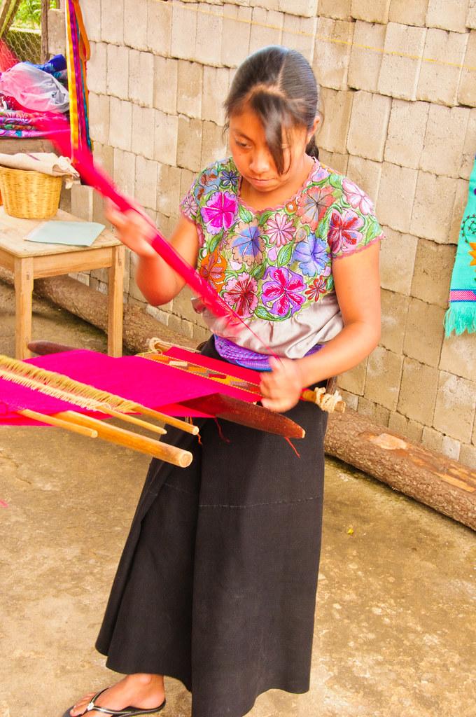 Zinacantan women hand weaving