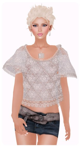 AOHARU Sheer Lace Tee - White