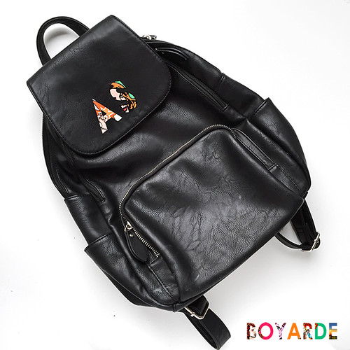 Alphabet prime AS black leather backpack by BOyarde copy