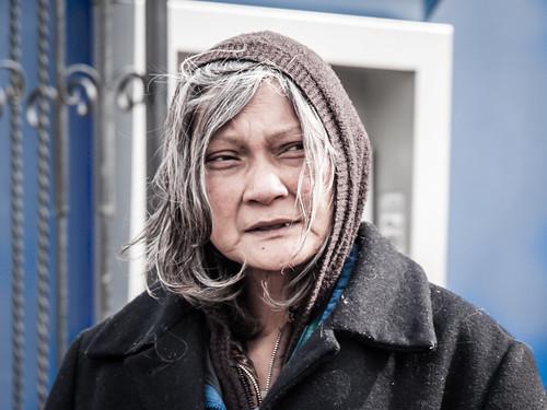 Homeless woman in San Francisco