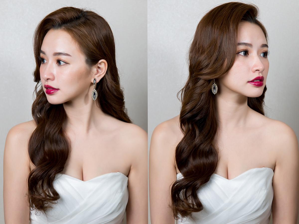 新秘Yuki│北部新秘│白紗造型│長捲髮│紫色口紅│新娘髮型│wavy hair