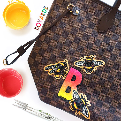 Alphabet Gradient B bespoke with Bees on Louis Vuitton Neverfull damier by Boyarde montage copy