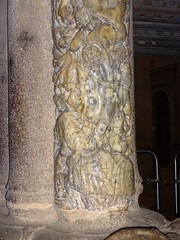 The worn bottom of the pillar of Saint James in the  Doorway of Glory - from 1750 the pilgrims touched this part when they arrived at the Cathedral