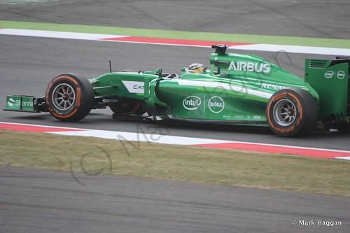 Marcus Ericsson in his Caterham during Free Practice 2 at the 2014 British Grand Prix