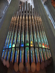 Sagrada Familia organ - reflecting the light of the stained glass windows