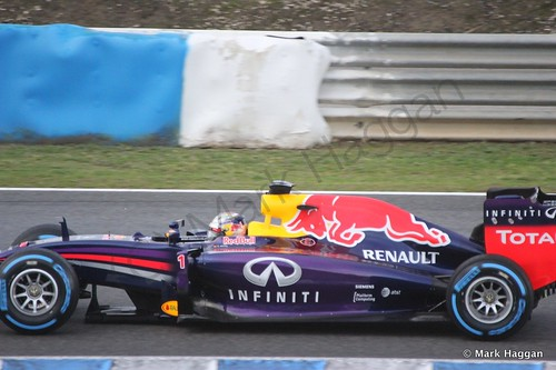 Sebastian Vettel in his Red Bull at Formula One Winter Testing 2014