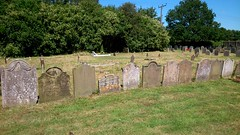 A row of 19th century headstones