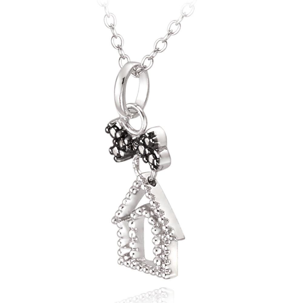 925 Silver Black Diamond Accent Dog House & Dog Bone