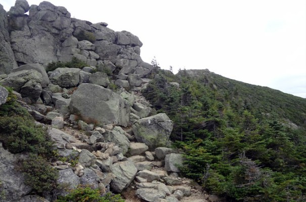 A rock outcrop on the Franconia Ridge Trail