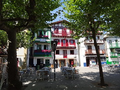 Hondarribia plaza with lots of Tabernas and restaurants