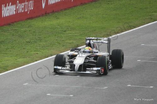 Esteban Gutierrez in his Sauber at Formula One Winter Testing 2014