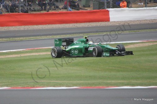 Marcus Ericsson in his Caterham goes off during qualifying for the 2014 British Grand Prix