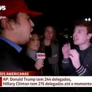 Repórter fica no meio de discussão entre apoiadores de Hillary e Trump