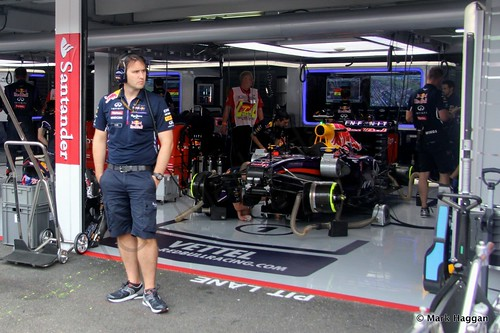 The Red Bull of Sebastian Vettel before the 2014 German Grand Prix