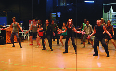 Randy Slovacek (Choreographer) and cast during rehearsal for A Chorus Line, produced by Music Circus at the Wells Fargo Pavilion June 24 – 29, 2014. Photos by Charr Crail.