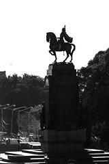 Horseback rider saluting the sun